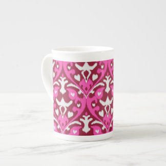 Modern bold red pink girly ikat tribal pattern tea cup