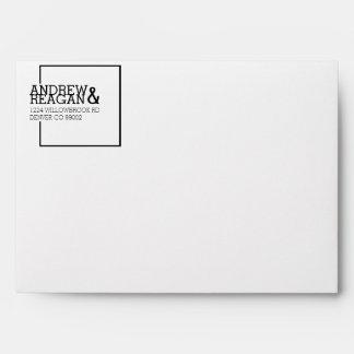 Modern Bold Square   Custom Address & Initials Envelope