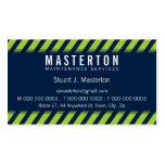 MODERN BOLD STRIPE warning green dark navy blue Business Cards
