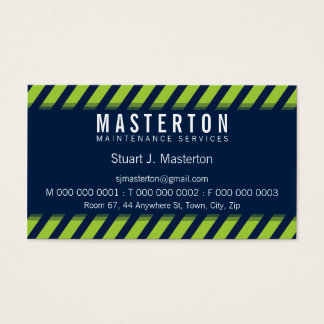 MODERN BOLD STRIPE warning green dark navy blue Business Card