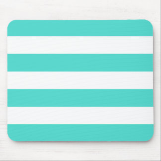 Modern Bold Turquoise and White Stripes Mouse Pad