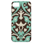 Modern bold turquoise brown ikat tribal pattern iPhone 5 cover