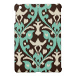 Modern bold turquoise brown ikat tribal pattern case for the iPad mini