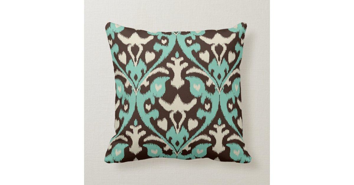 Modern Tribal Pillow Pattern : Modern bold turquoise brown ikat tribal pattern throw pillow Zazzle