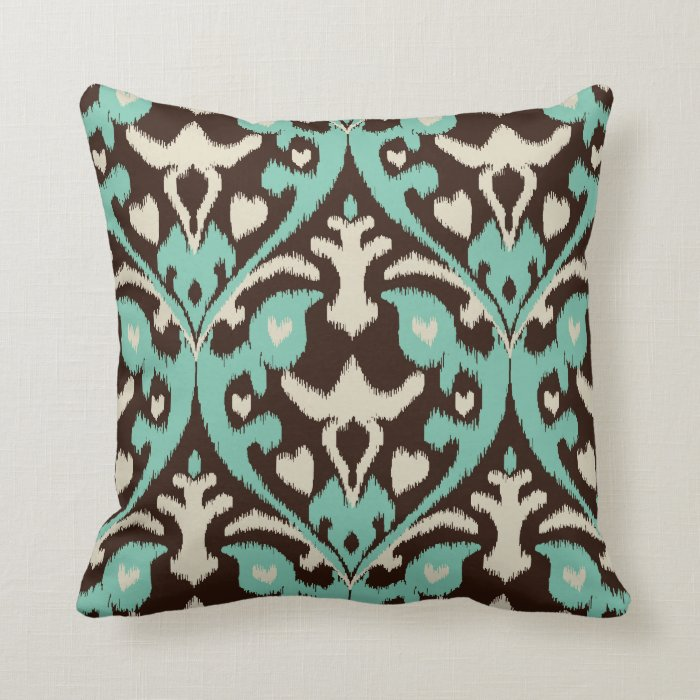 Modern Tribal Pillows : Modern bold turquoise brown ikat tribal pattern throw pillow Zazzle