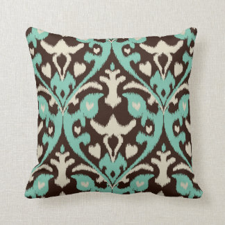 Modern bold turquoise brown ikat tribal pattern throw pillow