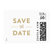 Modern, Bold Type Wedding Save the Date in Gold Postage