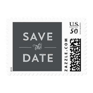 Modern, Bold Type Wedding Save the Date in Gray Postage