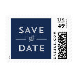Modern, Bold Type Wedding Save the Date in Navy Stamp