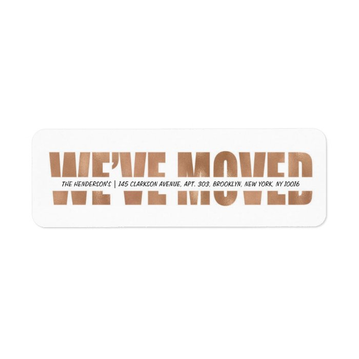 modern bold we 39 ve moved label zazzle. Black Bedroom Furniture Sets. Home Design Ideas
