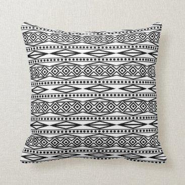 Aztec Themed Modern Bold White & Black Tribal Aztec Geo Pattern Throw Pillow