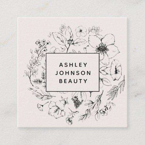Modern Botanical Blush and Black Square Business Card
