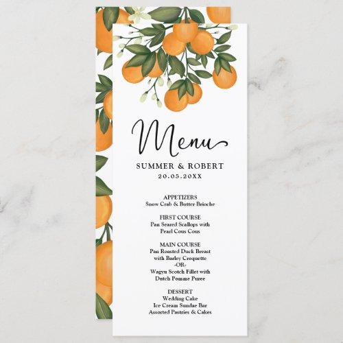Modern Botanical Citrus Greenery Wedding Menu Card