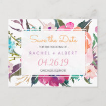 Modern Botanical Floral Wedding Save the Date Announcement Postcard