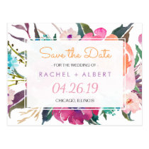 Modern Botanical Floral Wedding Save the Date Postcard