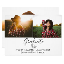 Modern Botanical Graduation Photo Announcement