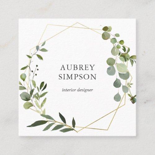 Modern Botanical Greenery Eucalyptus Square Business Card