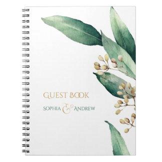 Modern botanical greenery wedding guest book