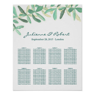 Modern Botanical Greenery Wedding Seating Chart