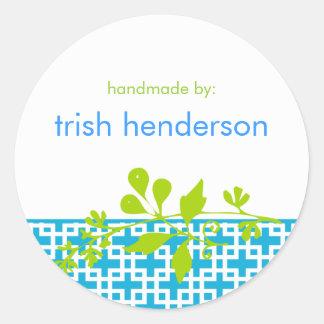 Modern Botanical Hancrafter's Label Classic Round Sticker