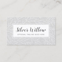 Modern Botanical Leaf Branches Silver Minimalist Business Card