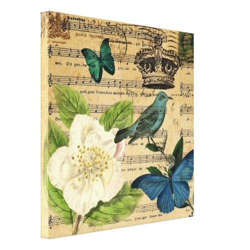 modern botanical music notes french bird Camellia