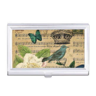 modern botanical music notes french bird Camellia Case For Business Cards