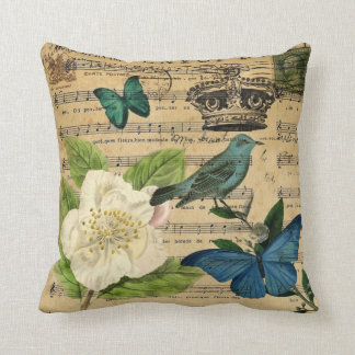 modern botanical music notes french bird Camellia Throw Pillow