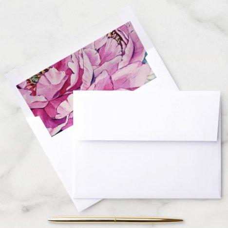 Modern Botanical Pink Peony Wedding Envelope Liner
