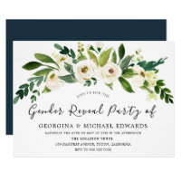 Modern Botanical White Floral Gender Reveal Party Invitation