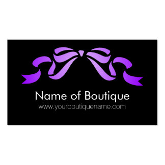 Modern Boutique Purple and Black Girly Ribbon Business Cards