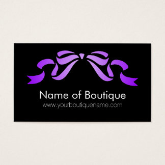Modern Boutique Purple and Black Girly Ribbon Business Card