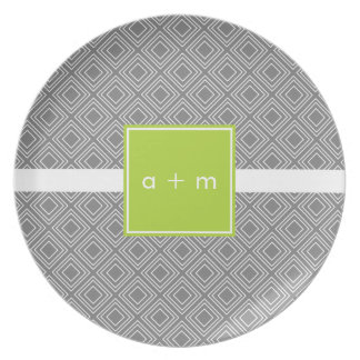 Modern Boxes Gray with Lime Melamine Plate