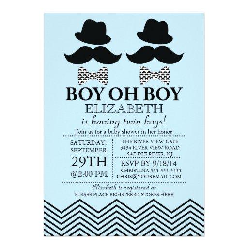 Modern Boy Little Man Mustache TWINS Baby Shower Custom Invites (front side)