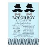 Modern Boy Little Man Mustache TWINS Baby Shower Custom Invites