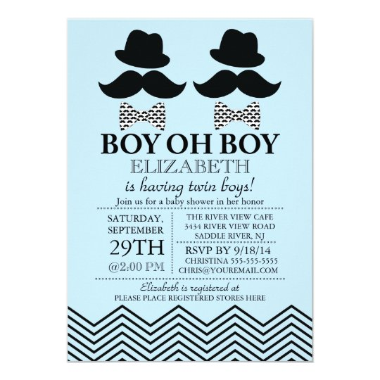 Modern boy little man mustache twins baby shower invitation zazzle modern boy little man mustache twins baby shower invitation filmwisefo