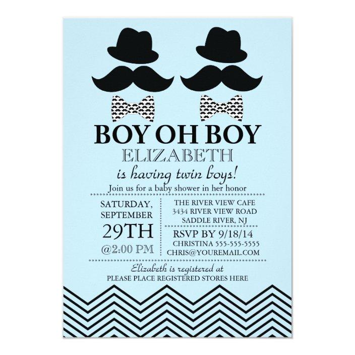 Modern Boy Little Man Mustache Twins Baby Shower Invitation Zazzle Com
