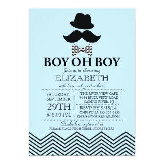 Modern Boy Oh Boy Little Man Mustache Baby Shower Card