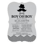 Modern Boy Oh Boy Little Man Mustache Baby Shower Custom Announcements