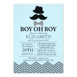 Modern Boy Oh Boy Little Man Mustache Baby Shower Custom Announcement