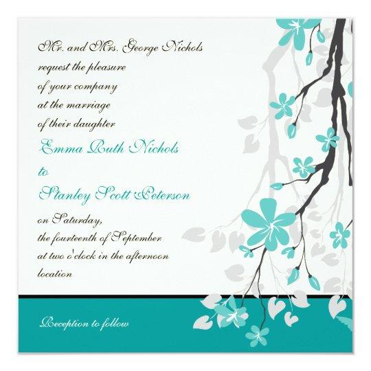 Modern branch turquoise wedding invitation