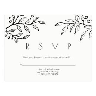 Modern branch wedding rsvp postcards