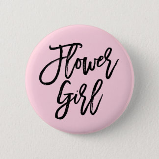 Modern Bridal Party Flower Girl Pinback Button