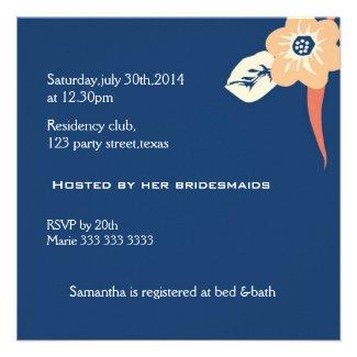 Modern Bridal Shower Invitations::Navy Blue