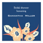 "Modern Bridal Shower Invitations::Navy Blue 5.25"" Square Invitation Card"