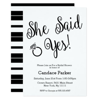 She Said Yes Invitations Announcements On Uncategorized Metro
