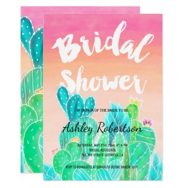 Beach Themed Modern bridal shower spring watercolor cacti card