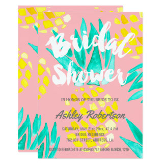Modern bridal shower spring watercolor pineapples card
