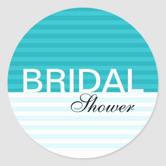 Modern Bridal Shower Stickers::Blue Stripes Classic Round Sticker