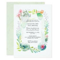 Modern Bridal Shower Watercolor Desert Cactus Art Card